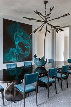 Beautiful blue velvet chairs in elegant stylish dining room