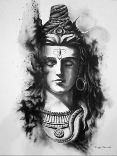 Charcoal painting: Lord Shiva!