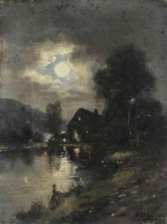 Ferdinand De Prins~ Nocturnal landscape with lighted house near the water