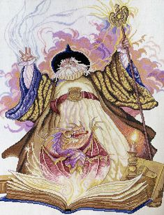 Rare and magical cross stitch kit from the Heritage Collection 2000 for the experienced emboiderer available at KindredClassics on Etsy Grand Wizard, Needlepoint Kits, Stitch Kit, Metallic Thread, Cross Stitch, Tapestry, Artwork, Etsy, Vintage