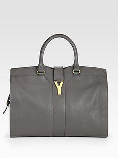 Yves Saint Laurent  YSL Cabas Chyc Large Leather East West Bag grey 2150