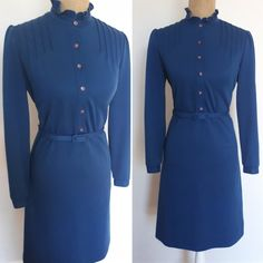 Vintage 1970's blue dress, 70's long-sleeved midi dress Day Dresses, Blue Dresses, Vintage Dresses, Dresses For Work, Fabric Labels, Long Sleeve Midi Dress, A Perfect Day, Mother Of Pearl Buttons, 1970s