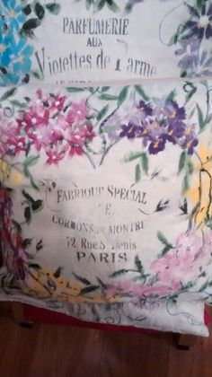 Wreath cushion I painted + sewn.