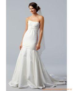 Schulterfreies Brautkleid aus Taft verziertes Korsett und meerjungfrausförmiger Rock mit Schleppe
