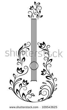 Guitar with floral details for entertainment design Arte vetorial : Guitarra com detalhes florais Music Drawings, Pencil Art Drawings, Easy Drawings, Drawing Sketches, Drawing Poses, Drawing Ideas, Guitar Drawing, Wood Burning Patterns, Doodle Art
