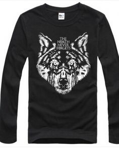 Game of Thrones Season 5 black long sleeve shirt The North Never Forgets mens t shirt House Stark- Black Long Sleeve Shirt, Long Sleeve Shirts, Wolf T Shirt, House Stark, Cool Patterns, Seasons, Game, Sweatshirts, Mens Tops