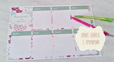 Faça o download planejamento semanal grátis. Fiz este lindo planner para você organizar a sua semana. Baixe e imprima!