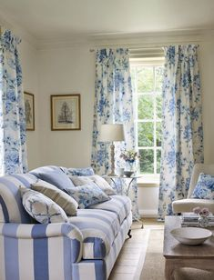 Jane-Churchill blue and taupe living room fabrics available from Sue Foster Interiors, Emsworth www.suefoster.co.uk