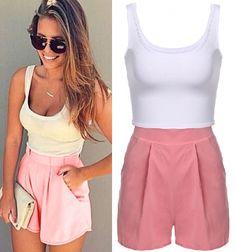 Combinaison short rose & blanc avec poches - bestyle29.com