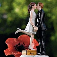 This funny wedding cake topper shows the excitement of a bride and groom about to start off on their first journey together as husband and wife. This cake topper will be perfect for a wedding or engagment party cake.