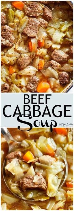 Beef Cabbage Soup is quick to make healthy low in carbs and full of delicious flavour! Made with minimal ingredients full of cabbage carrots onions garlic and tender fall apart beef! Low fat low carb healthy diet approved and so super filling yo Beef Soup Recipes, Cabbage Soup Recipes, Healthy Recipes, Low Fat Crockpot Recipes, Beef Soups, Low Carb Soup Recipes, Beef Dishes, Potato Recipes, Salad Recipes