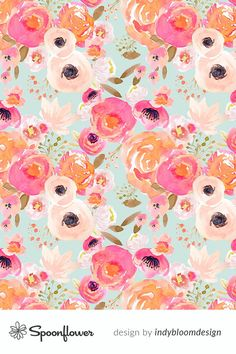 This is a watercolor floral seamless repeat design, perfect for using as removable wallpaper and making handmade home decor and apparel! Explore custom-printed fabric, wallpaper and home decor on Spoonflower. No minimums, eco-friendly printing, and each order supports an indie artist from around the world! Hello Wallpaper, Fabric Wallpaper, Cute Backgrounds, Wallpaper Backgrounds, Oval Tablecloth, Custom Printed Fabric, Spoonflower Fabric, Handmade Home Decor, Beautiful Patterns