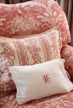 fabulous pink toile chair and antique monogramed linen pillow with sweet pink and white striped floral ribbon fabric French Decor, French Country Decorating, Rose Cottage, Cottage Style, French Cottage, Cottage House, Cottage Chic, Farm House, Linens And Lace