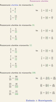 Rozszerzanie ułamków Aa School, Back To School, How To Do Math, Study Notes, Algebra, Work Hard, Everything, Life Hacks, Homeschool