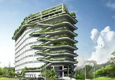 Ken Yeang's Human Research Institute The Aesthetics of Green Buildings Green architect Ken Yeang may be to skyscrapers what Buckminster Fuller was to houses. The Malaysian architect's visionary approach to green building bucks the mainstream, embracing Green Architecture, Sustainable Architecture, Sustainable Design, Landscape Architecture, Architecture Design, Rotterdam Architecture, Building Architecture, Building Facade, Classical Architecture