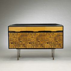 Robert Heritage; Natural and Lacquered Birch and Brass Sideboard with Transfer-Printed Cityscape for G.W. Evans, c1954.