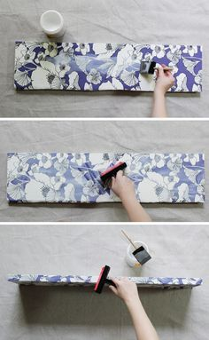 How to decoupage fabric onto shelves. - Mod Podge Rocks? Best tutorial for this ive seen so far