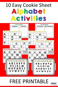 Easy and fun cookie sheet alphabet activities for kids. Includes 10 free printables for parents and kids to use. Easy and fun cookie sheet alphabet activities for kids. Includes 10 free printables for parents and kids to use. Alphabet Kindergarten, Kindergarten Centers, Preschool Letters, Learning Letters, Kindergarten Reading, Preschool Learning, Preschool Crafts, Letter Recognition Kindergarten, Kindergarten Language Arts