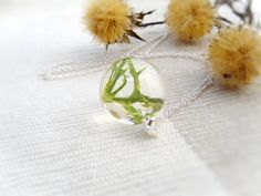 Green leaf in resin necklace jewelry dried flower real flowers Resin Orb Necklace Resin Sphere Necklace ball