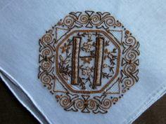 Vintage Ladies Hankie Unused Madeira Monogram H in Brown Sheer Linen Hand Roll | eBay