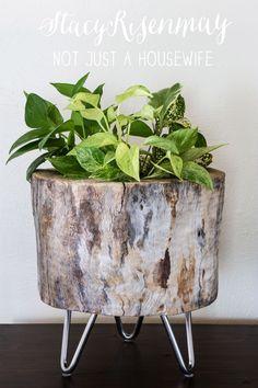 DIY Modern Tree Stump Planter