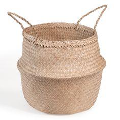 off-white quilted bedspread 240 x 260 cm on Maisons du Monde. Sisal, Basket Planters, Rattan Basket, Blanket Storage, Plant Fibres, Quilted Bedspreads, Basket Decoration, Unique Furniture, Storage Baskets