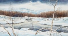 Per Julius (1951-): Winter landscape from the north of Sweden