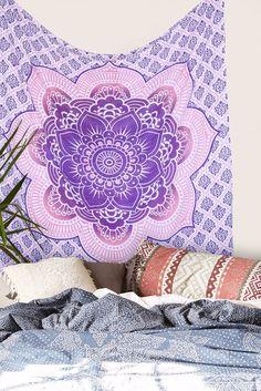beautiful lotus mandala tapestry indian cotton bedcover boho beach throw