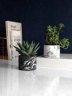 Monochrome Marbled Planter, Unique Plant Pot for Indoors