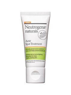 Neutrogena Naturals Acne Spot Treatment This 93 percent natural treatment uses a low concentration (1 percent) of salicylic acid to fight pimples, so it doesn't exacerbate redness or dryness. The citrusy scent is also much more pleasant than the medicinal ones acne treatments often get stuck with.