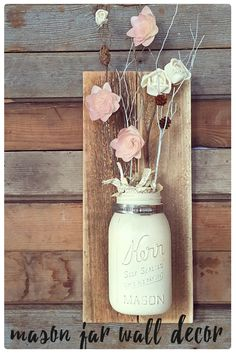 A recycled mason jar is painted and mounted on wood, then filled with twigs Mason Jar Projects, Mason Jar Crafts, Mason Jar Diy, Wood Crafts, Fun Crafts, Diy And Crafts, Sola Wood Flowers, Great Mothers Day Gifts, Decorated Jars