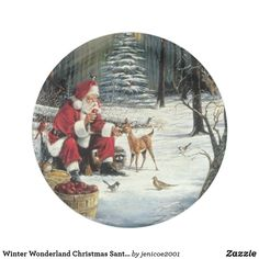 Winter Wonderland Christmas Santa And Deer Snow Ornament , Holiday Cards, Christmas Cards, Snow Ornaments, Christmas Paper Plates, Winter Wonderland Christmas, How To Make Ribbon, Party Tableware, White Elephant Gifts, Deer