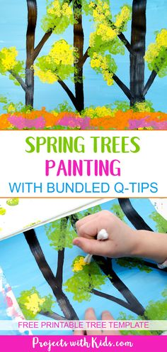 This gorgeous spring trees painting is so fun to make! Using bundled q-tips makes this an easy art project for kids of all ages. Free printable trees template included. #springcrafts #kidspainting #kidsart #projectswithkids