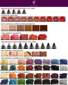 Younique colour chart. Get your Younique products directly from me https://www.youniqueproducts.com/Rachellecleary