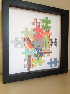Puzzle Piece 3D paper art -- this would be a cool craft! :)