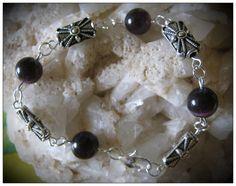 Beautiful Handmade Silver Bracelet with Dark Purple Cat Eye by IreneDesign2011