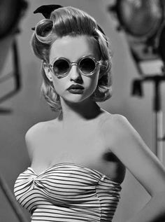 1940s retro - black and white - stripes - strapless - shades sunnies - blonde