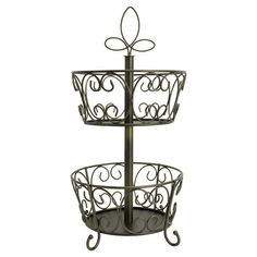 Maybe use this to stow smaller items in workroom? Stow your favorite blends in chic style with this scrolling metal coffee pod holder, featuring 2 tiers and a leaf-inspired finial top.