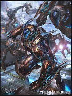 Conceptual Art by Thienhuy from Galaxy Saga Robot Concept Art, Armor Concept, Concept Ships, Character Concept, Character Art, Character Design, Galaxy Saga, Soldado Universal, Arte Robot