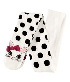Only in kids' sizes? But whyyy? Polka dot kitten tights from H & M.