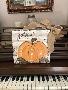Harvest farmhouse pumpkin, handpainted on heavy distressed rough hewn wood. Wood is thick enough to standalone, art block by DDOvercastHandmades on Etsy Fall Canvas Painting, Autumn Painting, Fall Paintings, Turkey Painting, Painting Pumpkins, Pallet Painting, Knife Painting, Tole Painting, Canvas Paintings