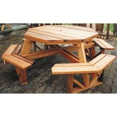 Octagon Picnic Table Plan The Octagon Picnic Table would be great on your deck or patio! With it's ability to seat up to 8 people you could use it for that outdoor card game or board game! It is also