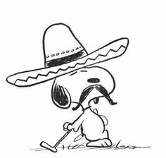 Snoopy in sombrero leaning on a golf club.