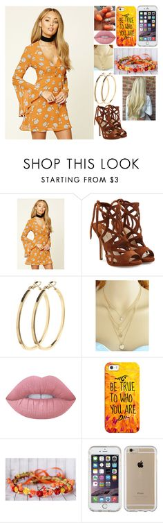 """""""Orange Flower Crown"""" by kiara-fleming ❤ liked on Polyvore featuring Forever 21, Paul Andrew, Pieces, Lime Crime, Casetify and Speck"""