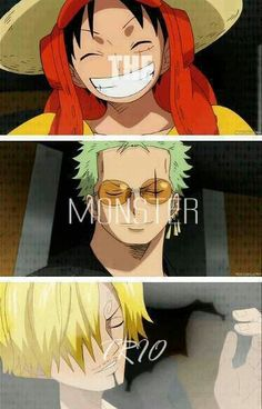 The monster trio-but Zoro in those glasses...really?