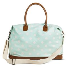 This will be mine!!!!!! Women's Polka Dot Canvas Weekender Handbag - Mint
