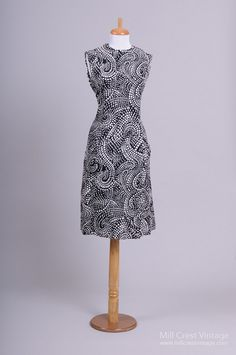 1960 Art Deco Paisley Scooter Vintage Day Dress