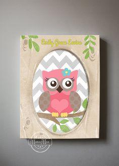 Owl Decor Girls wall art  OWL canvas art Baby Nursery by MuralMAX, $51.00