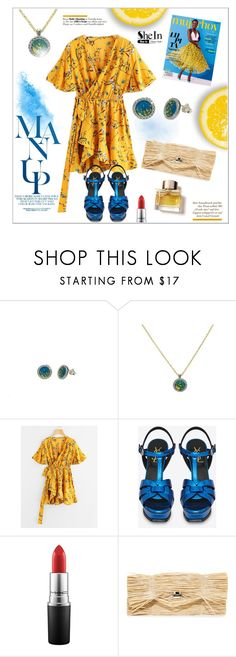 """yellow & blue"" by giampourasjewel ❤ liked on Polyvore featuring Yves Saint Laurent, MAC Cosmetics, MM6 Maison Margiela and Burberry"