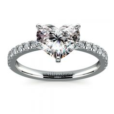 Petite Pave Diamond Engagement Ring in White Gold (1/4 ctw)